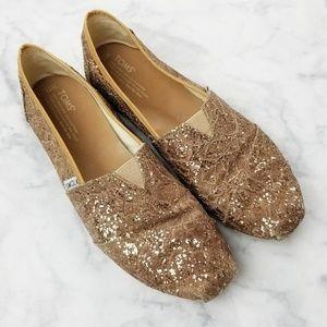 Toms|Gold Sparkle Lace Slip On Shoes
